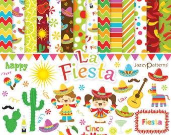 Fiesta clip art and digital paper pack DK004 instant download