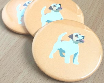 Jack Russell dog 58mm button pin badge