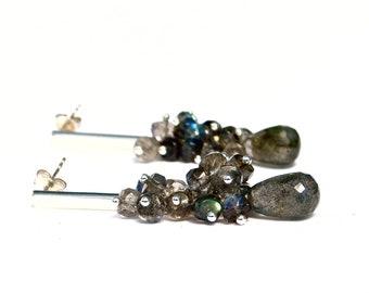 "Labradorite Cascading Earrings, Labradorite Chandelier Earrings, ""Gabrielle"" Labradorite Earrings in Sterling"
