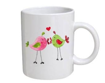 Cute Kissing Birds Mug - Gift for your loved one, Valentine's Day Gift, Romantic Mug, Gift for Him, Gift for Her, Anniversary Mug