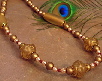"""Beautiful Bronze Necklace ~ Glass Pearls and Beads with Maroon Burgundy Accents ~ 26"""" Long Necklace"""