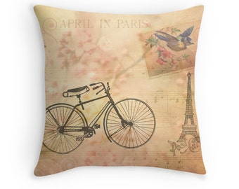 Paris Decor, Eiffel Tower Decor, Pink Pillow Cover, Pink Cushions, Bicycle Decor, Cherry Blossoms, Spring Colors, Pastel Throw Pillow
