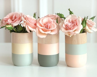 Mothers Day Gift - Wooden Vases - Home Decor - for flowers and more - Set of 3 - gift for Her