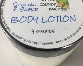 Essential Oil Body Lotion, Special 7 Blend, Aloe Vera Gel, Shea Butter, Fast drying, no stickiness