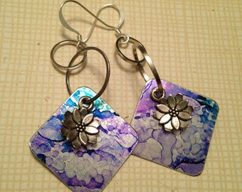 Teal and purple ink on lightweight aluminum charms 2-1/4 inch dangle earrings