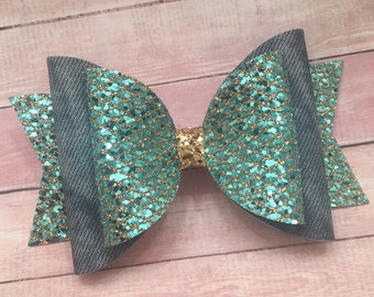Teal and Jean, Rodeo, Denim, Gold, Glitter Bow