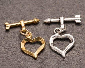 heart toggle clasp, heart and arrow, jewellery making, beading supplies, jewelry design, heart and arrow clasp, bracelet closure, necklaces
