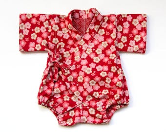 Baby kimono romper, baby romper, new baby gift, newborn gift, baby outfit, baby jinbei, japanese outfit, gender neutral baby clothes