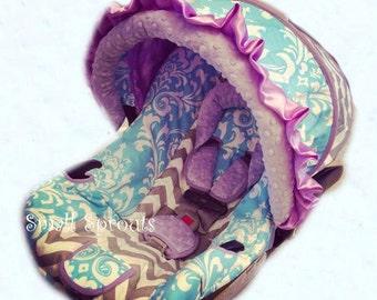 Clarissa~Aqua Damask/Grey Chevron/Lilac Infant Car Seat Cover 5 piece set