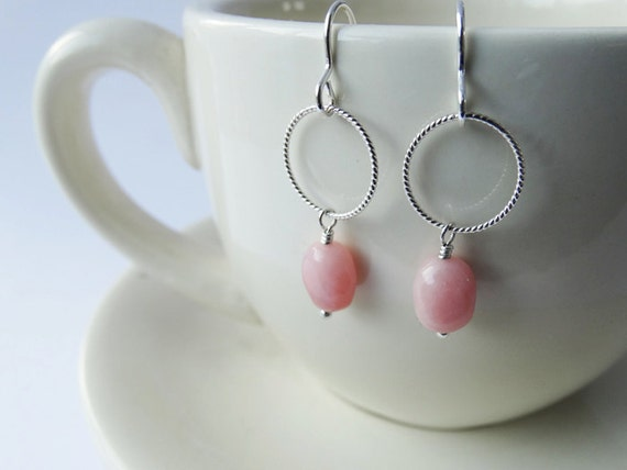Pink Opal & Silver Earrings - Sterling Silver