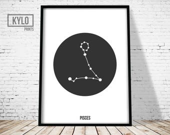 Pisces Zodiac Print, Constellation Print, Astrology Print, Scandinavian Art, Geometric Poster, Nursery Decor, Pisces Poster, Zodiac Wall art