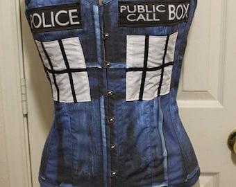 Victorian Overbust Tardis Police Box Doctor Who Corset Steel Boned Custom Sized