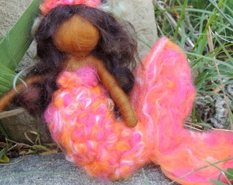 Mermaid and Her Treasure - World Mermaid - Waldorf  Inspired Needle Felted Doll