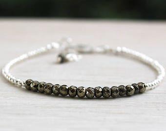 Bracelet 925 sterling silver beads and pyrite gemstones