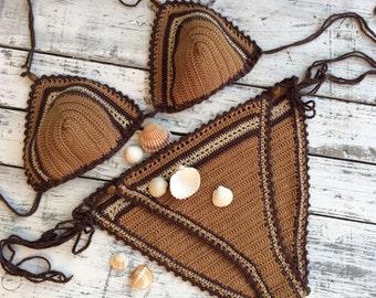 Crochet boho bikini Bohemian brown bikini