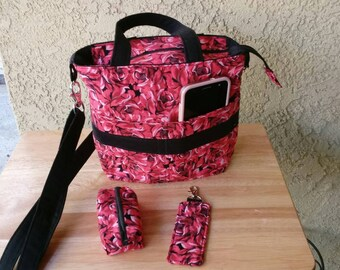 Rose printed crossbody purse