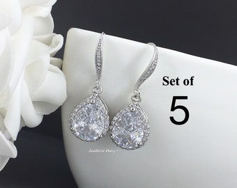 Set of 5 Earrings Crystal Dangle Earrings Bridal Earrings Bridesmaid Jewelry Gift for Her Cubic Zirconia Earrings Maid of Honor Gift for Mom