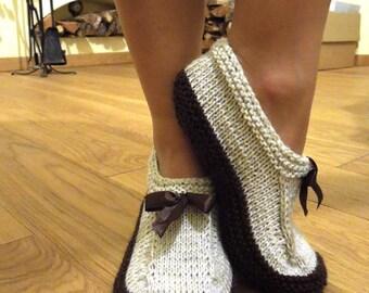 Wool slippers. Knitted slipper socks. House socks. Handknit slippers. Wool socks. Indoor socks. Christmas gift. Birthday present