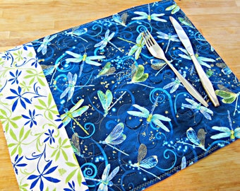 Quilted Placemats, Dragonfly Placemats, Dragonfly Decor, Fabric Placemats, Blue Placemats, Bug Decor, Dragonflies, Modern Placemats