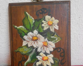 Vintage Beautiful Hand Painted Floral of Daisies on hard wood / Ready to Hang.