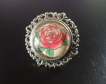 Old school tattoo Silver Pink Flower ring