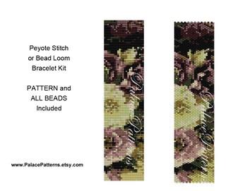 Beautiful Hellebores1 Bracelet KIT - Peyote Stitch or Bead Loom Bracelet Beading Kit P7 - Bead Loom Bracelet Kit - Peyote Bracelet Kit