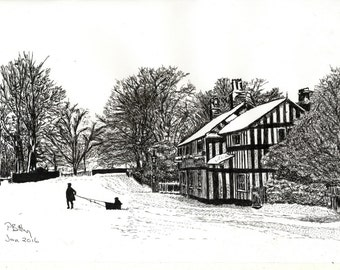 Art Print - Pen & Ink Drawing, A4 - Bridge Lane, Bramhall, 1920