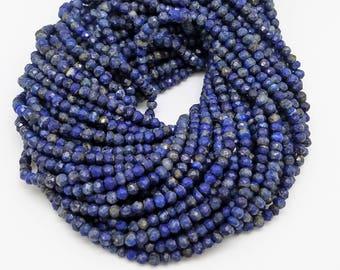 3.5 - 4mm Lapis Lazuli Faceted Rondelles, 12.5 inch