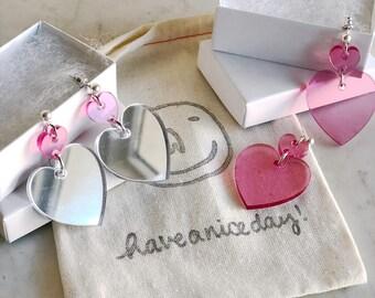 LOVER - Acrylic Heart Earrings (VDAY Limited Edition)