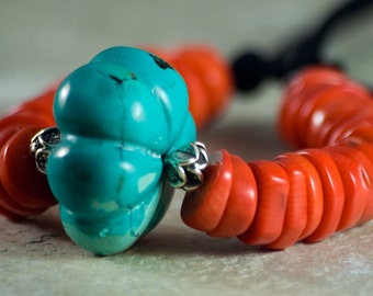 Turquoise Red Coral Necklace Bright Blue Artisan Black Hilltribe Silver Chunky OOAK Statement