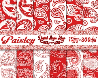 Red and White PAISLEY Pattern Digital Papers Pack - 12pcs 300dpi (paper crafts,card making,scrapbooking) Personal and Commercial use