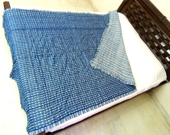 Indigo Stripes Dotted Block Print Cotton Kantha Quilt Indian blanket Blue Queen Comforter Duvet throw Reversible handmade Bohemian Jaipur