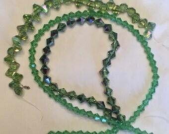 Green Czech Glass Bicones