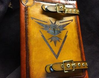 Leather Pokemon Team instinct  journal - day planner - book cover