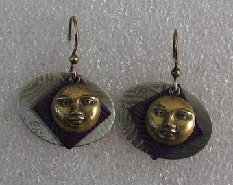 """Fun  Nickel Silver and Brass Moon Painted Metal Earrings 1 1/8"""" Long"""