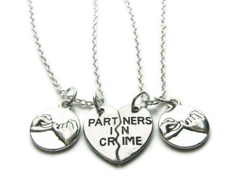 2 Partners In Crime Pinky Promise Necklaces, Best Friends Necklaces, Sisters Necklaces, Pinky Promise Necklaces, Friends Necklaces