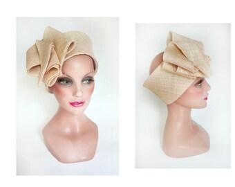 large bandeau chapeau femme mariage, headband minimaliste, turban cérémonie, bandeau fiançailles