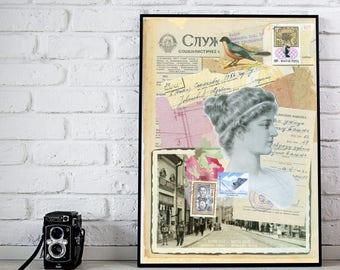 "Collage Art,  Paper Collage,  Vintage Ephemera, Art Print, Mixed Media Collage,  Home Decor- ""Old Times"""