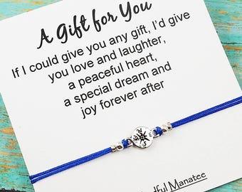 Best Friend Bracelet, Friendship Gift, BFF Bracelet, Gift for Friend, Compass Bracelet, Gift for Her, Friend Birthday Gift