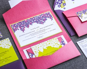 Tropical Wedding Invitation, Floral Pocketfold Invitations, Destination, Pink Purple and Lime Green Party - Cascading Hibiscus PF-1L SAMPLE