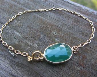 Emerald Gold Bracelet, Gold Chain Bracelet, May Birthstone, May Birthday, Green Emerald color, Gold Fill bracelet, Spring Fashion