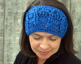 CLEARANCE! Cabled crochet headband, headwrap, ear warmer - royal blue - crochet accessories Winter Fashion