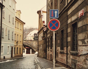 IN STOCK Cobblestones in Mala Strana, Prague, Urban Winter Pathway, Czech Republic Wanderlust 5x7 Fine Art Wall Decor