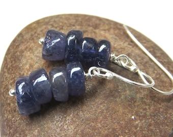 Iolite earrings - sterling silver earrings - blue gemstone earrings - iolite bead stack earrings -gemstone stack earrings - blue earrings