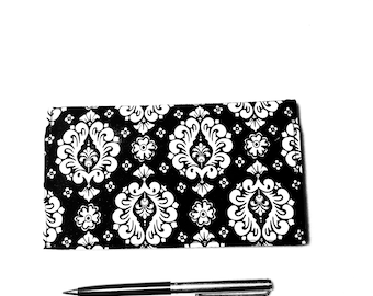 Checkbook Cover for Duplicate Checks - Fabric Checkbook  - Black and White Checkbook Cover  - L Miller Creations
