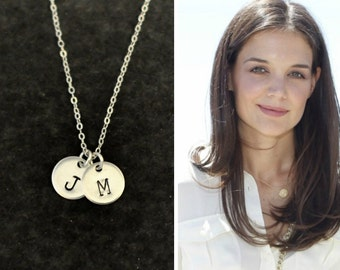Sterling Silver initial coin necklace, Personalized Silver disc necklace, Mother's Day gifts, initial monogram, Disc Necklace,coin necklace