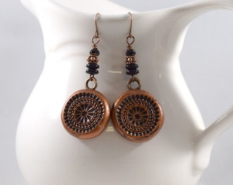 Big Round Textured Copper Polymer Clay Earrings, Copper Earrings, Artisan Earrings, Boho Earrings, Round Earrings, Lightweight, E032