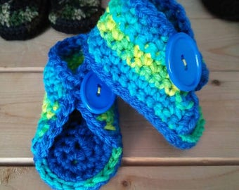 Big Button Peep Toe Baby Booties