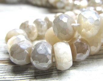 Gray Moonstone Rondelle Beads 10 x 6mm Iridescent Faceted Coated W/ a Permanent AB Sheen - 20 Pieces