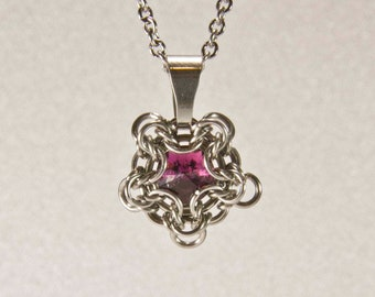 Tiny Pentagon Pendant / Celtic pentagon Necklace / Chainmaille pendant with gluss crystal